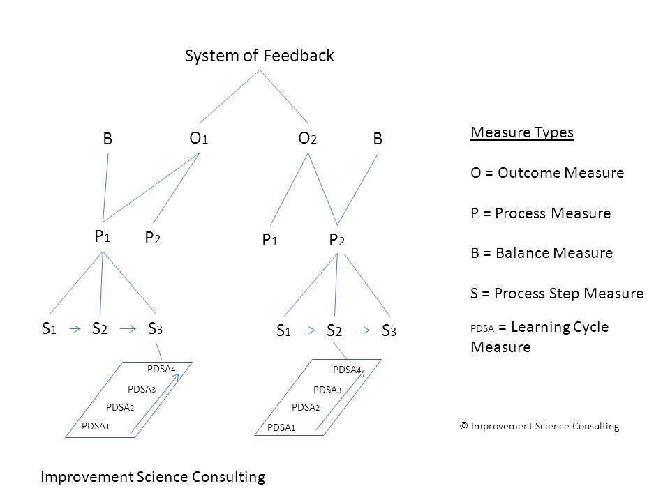 Improvement Science Consulting O1O1 P1P1 Measure Types O = Outcome Measure P = Process Measure B = Balance Measure S = Process Step Measure PDSA = Learning Cycle Measure O2O2 P2P2 BB P1P1 P2P2 S3S3 S2S2 S1S1 System of Feedback PDSA 1 PDSA 2 PDSA 3 PDSA 4 S3S3 S2S2 S1S1 PDSA 1 PDSA 2 PDSA 3 PDSA 4 © Improvement Science Consulting