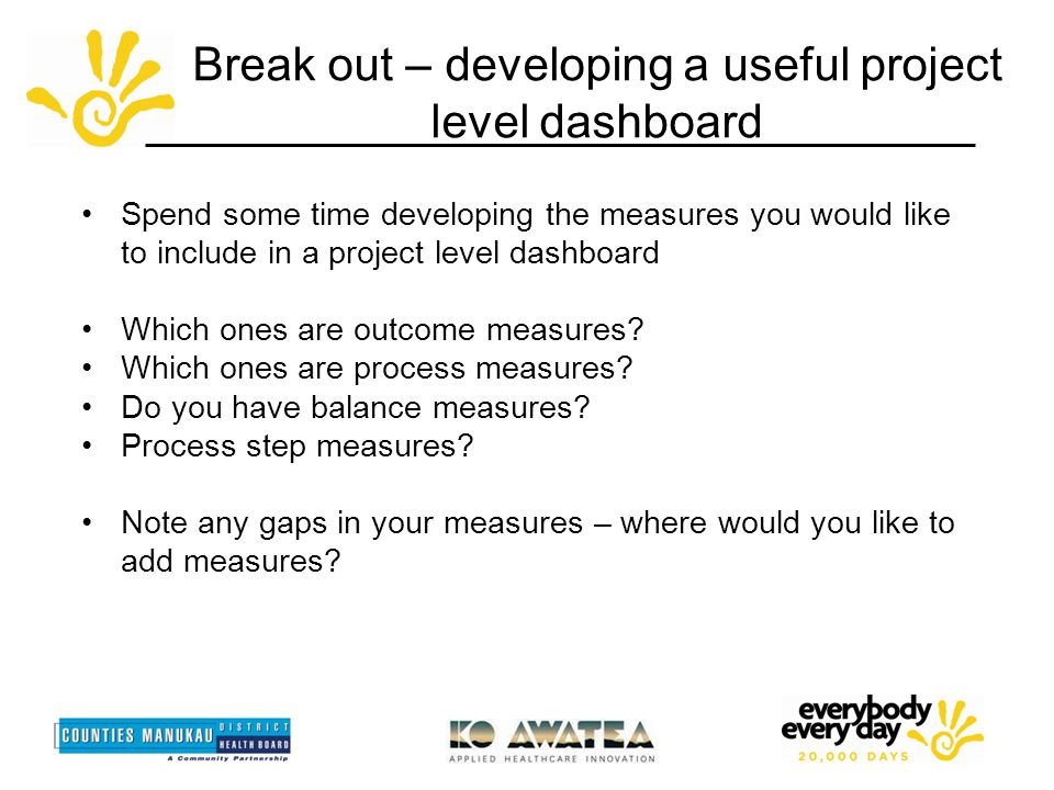 Break out – developing a useful project level dashboard Spend some time developing the measures you would like to include in a project level dashboard Which ones are outcome measures.