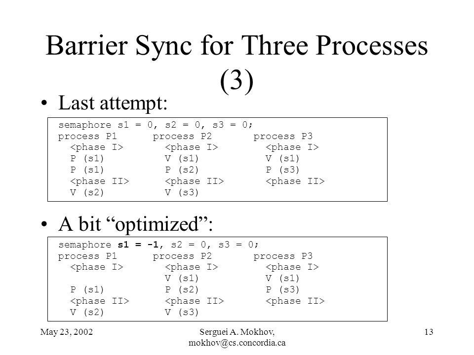 "May 23, 2002Serguei A. Mokhov, mokhov@cs.concordia.ca 13 Barrier Sync for Three Processes (3) Last attempt: A bit ""optimized"": semaphore s1 = 0, s2 ="