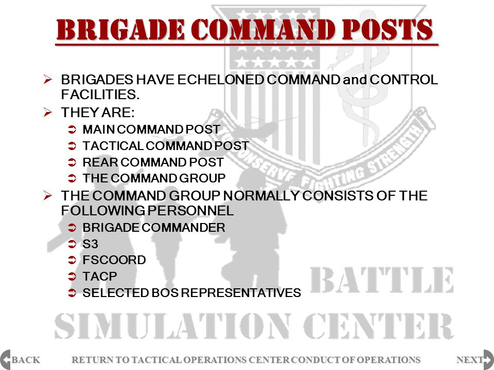 BACK NEXT RETURN TO TACTICAL OPERATIONS CENTER CONDUCT OF OPERATIONS RETURN TO TACTICAL OPERATIONS CENTER CONDUCT OF OPERATIONS  BRIGADES HAVE ECHELO