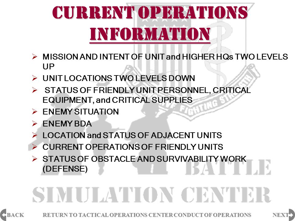 BACK NEXT RETURN TO TACTICAL OPERATIONS CENTER CONDUCT OF OPERATIONS RETURN TO TACTICAL OPERATIONS CENTER CONDUCT OF OPERATIONS FUTURE OPERATIONS INFORMATION  FUTURE MISSION AND INTENT OF UNIT and HIGHER HQs TWO LEVELS UP (BRANCH OR SEQUEL)  AVAILABILITY OF HIGHER ASSETS TO SUPPORT FUTURE OPERATIONS  ENEMY SITUATION  STATUS OF FRIENDLY UNITS  COMBAT POWER  RESUPPLY and REPLACEMENT PROJECTIONS  BREACHING ASSETS (PLOWS, DEMO, ACES, ETC.)  CLASS III and V STATUS (OFFENSE)  CLASS IV AND V STATUS (DEFENSE)