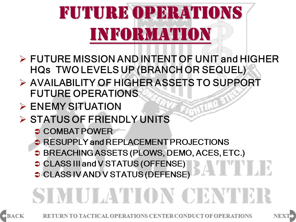 BACK NEXT RETURN TO TACTICAL OPERATIONS CENTER CONDUCT OF OPERATIONS RETURN TO TACTICAL OPERATIONS CENTER CONDUCT OF OPERATIONS FUTURE OPERATIONS INFO