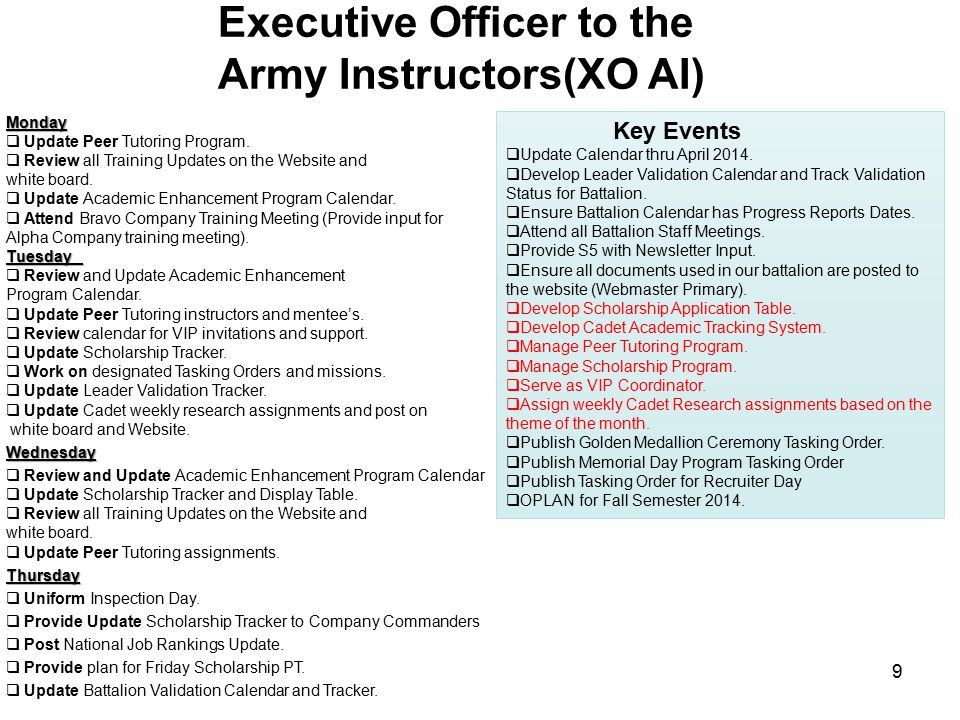 Executive Officer to the Army Instructors(XO AI) Key Events  Update Calendar thru April 2014.  Develop Leader Validation Calendar and Track Validati