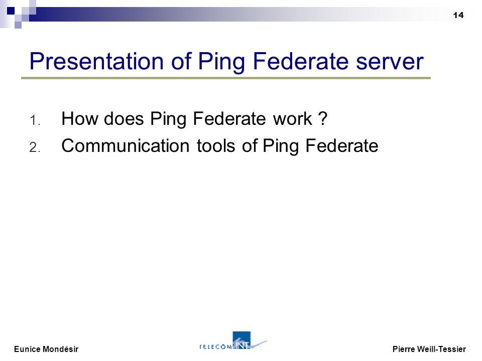 Eunice Mondésir Pierre Weill-Tessier 14 Presentation of Ping Federate server 1.