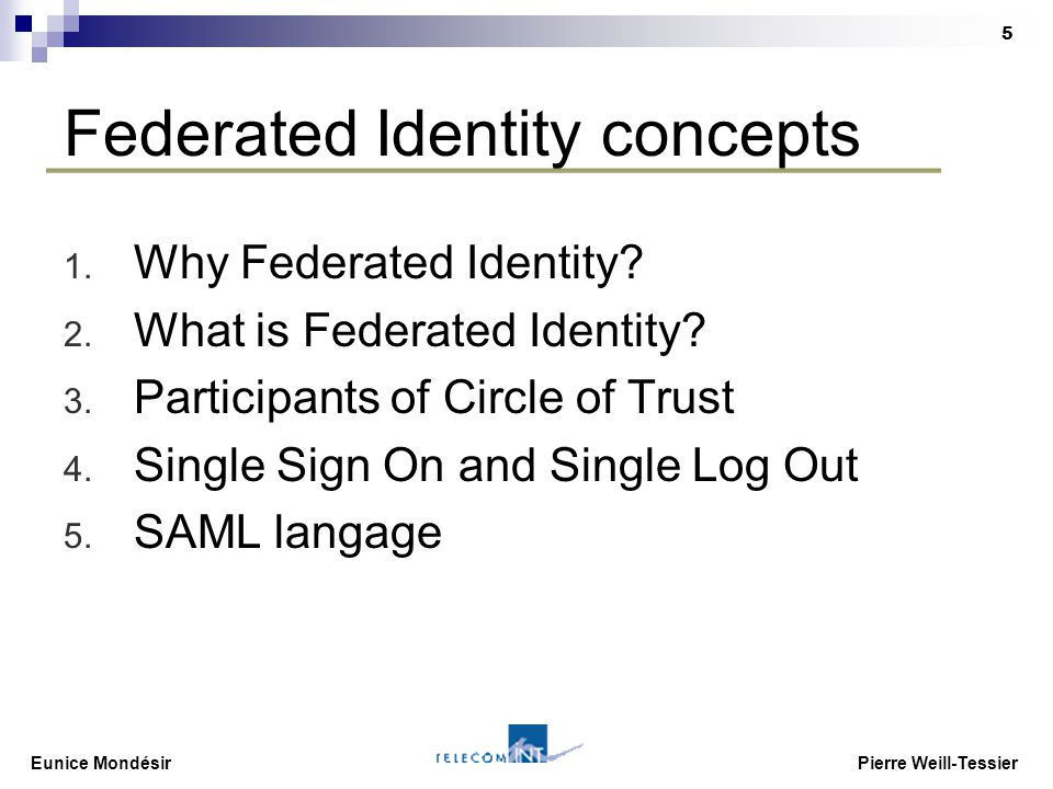 Eunice Mondésir Pierre Weill-Tessier 5 Federated Identity concepts 1. Why Federated Identity? 2. What is Federated Identity? 3. Participants of Circle