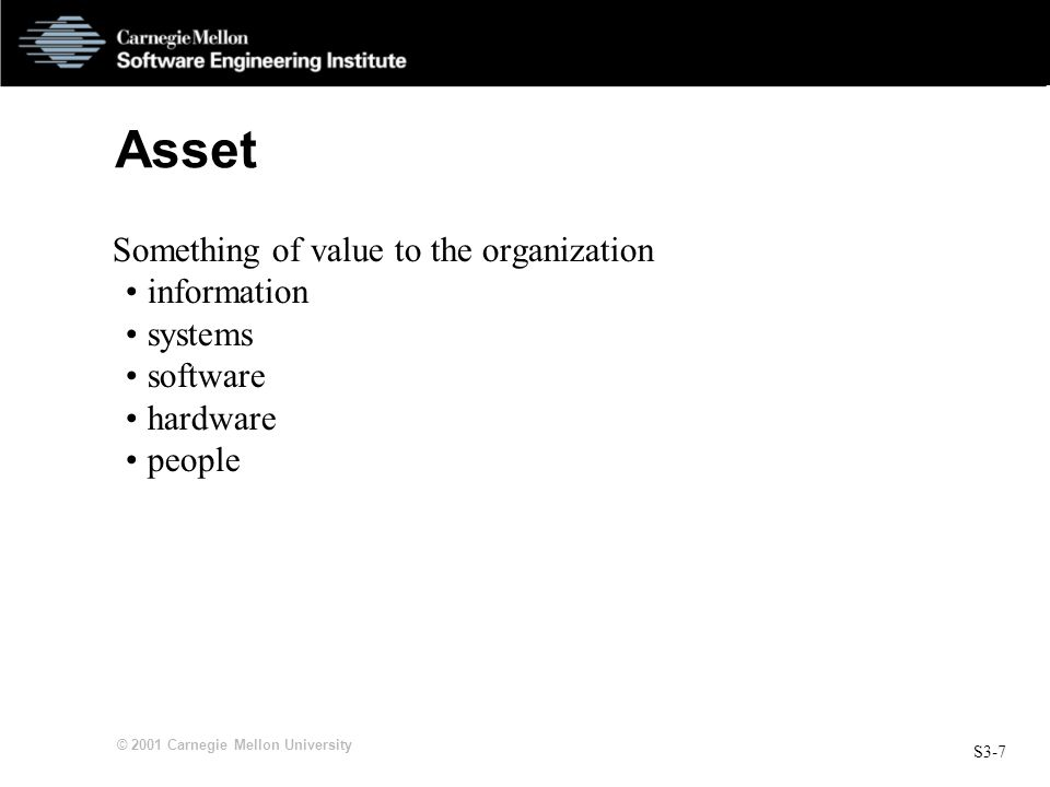 S3-7 © 2001 Carnegie Mellon University Asset Something of value to the organization information systems software hardware people