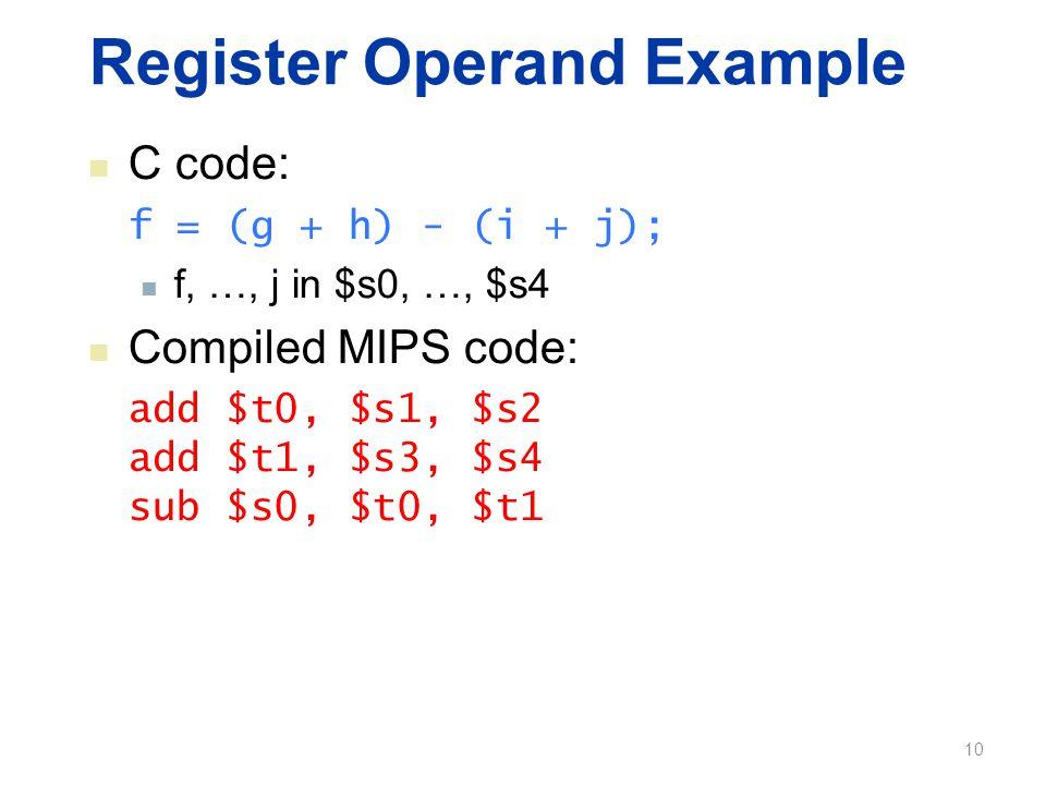 Register Operand Example C code: f = (g + h) - (i + j); f, …, j in $s0, …, $s4 Compiled MIPS code: add $t0, $s1, $s2 add $t1, $s3, $s4 sub $s0, $t0, $