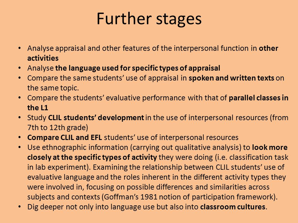 Further stages Analyse appraisal and other features of the interpersonal function in other activities Analyse the language used for specific types of appraisal Compare the same students' use of appraisal in spoken and written texts on the same topic.