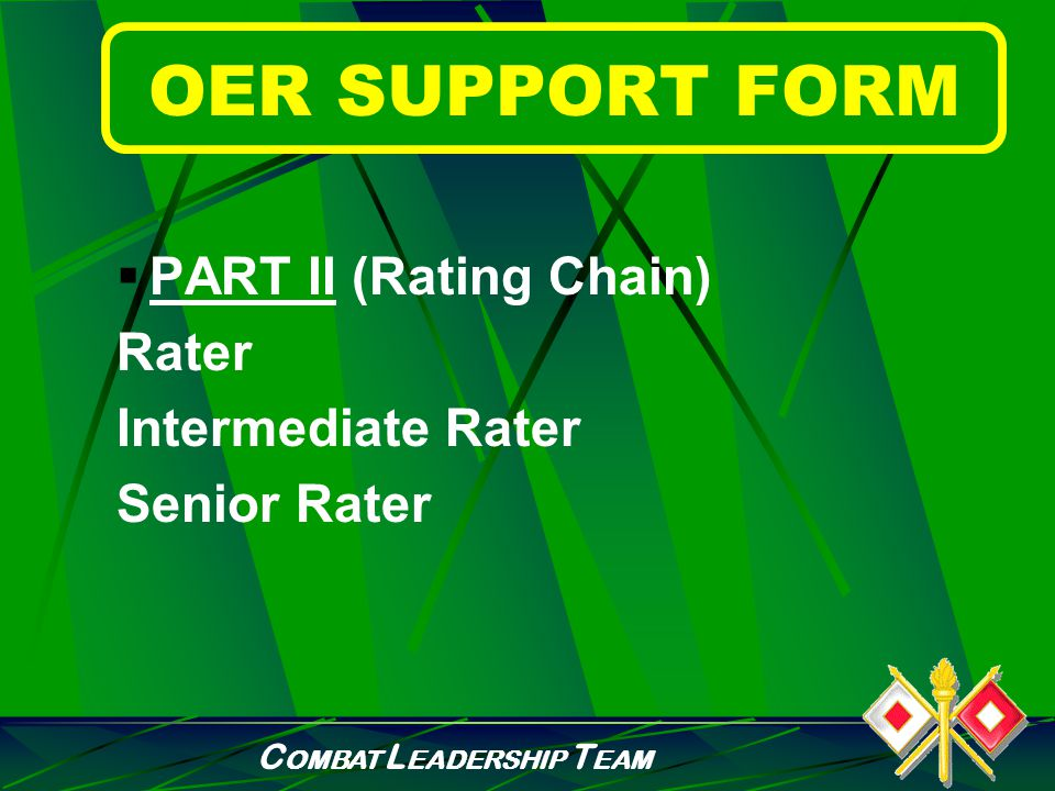 C OMBAT L EADERSHIP T EAM OER SUPPORT FORM  PART I (Rated Officer Identification) Name Rank Organization
