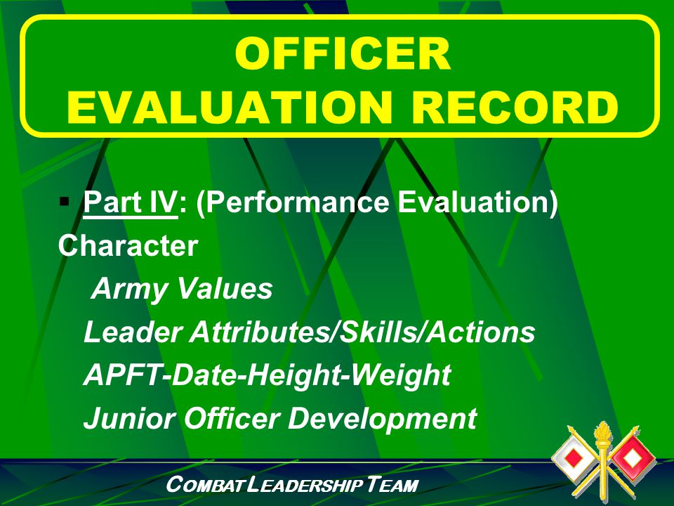 C OMBAT L EADERSHIP T EAM OFFICER EVALUATION RECORD  Part III: (Duty Description) Principal Duty Title Position Code Significant Duties and Responsibilities (refer to DA Form 67-9-1)