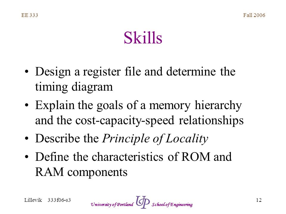Fall 2006 12 EE 333 Lillevik 333f06-s3 University of Portland School of Engineering Skills Design a register file and determine the timing diagram Explain the goals of a memory hierarchy and the cost-capacity-speed relationships Describe the Principle of Locality Define the characteristics of ROM and RAM components