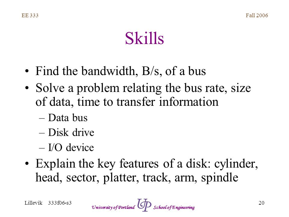 Fall 2006 20 EE 333 Lillevik 333f06-s3 University of Portland School of Engineering Skills Find the bandwidth, B/s, of a bus Solve a problem relating the bus rate, size of data, time to transfer information –Data bus –Disk drive –I/O device Explain the key features of a disk: cylinder, head, sector, platter, track, arm, spindle