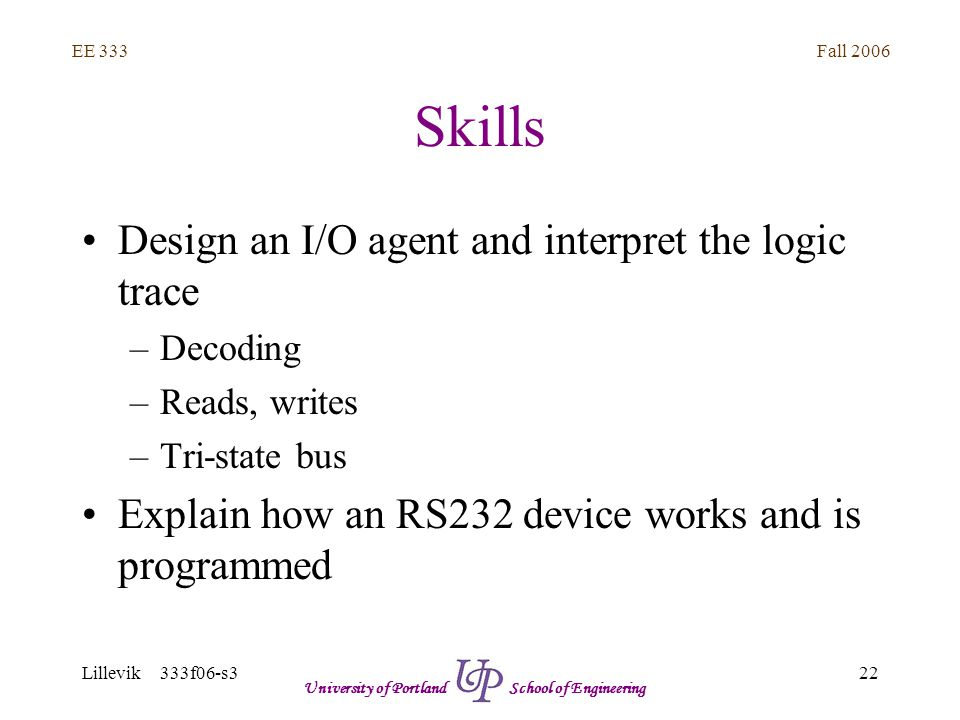 Fall 2006 22 EE 333 Lillevik 333f06-s3 University of Portland School of Engineering Skills Design an I/O agent and interpret the logic trace –Decoding –Reads, writes –Tri-state bus Explain how an RS232 device works and is programmed