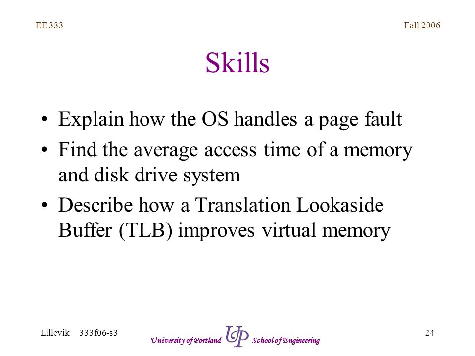Fall 2006 24 EE 333 Lillevik 333f06-s3 University of Portland School of Engineering Skills Explain how the OS handles a page fault Find the average access time of a memory and disk drive system Describe how a Translation Lookaside Buffer (TLB) improves virtual memory