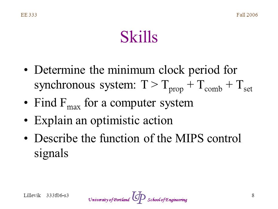 Fall 2006 9 EE 333 Lillevik 333f06-s3 University of Portland School of Engineering Skills Determine the MIPS control signals for: –Instruction fetch –Instruction decode, register read, and optimistic branch address –R-type execution and register write back