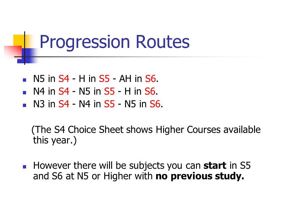 Progression Routes N5 in S4 - H in S5 - AH in S6. N4 in S4 - N5 in S5 - H in S6.