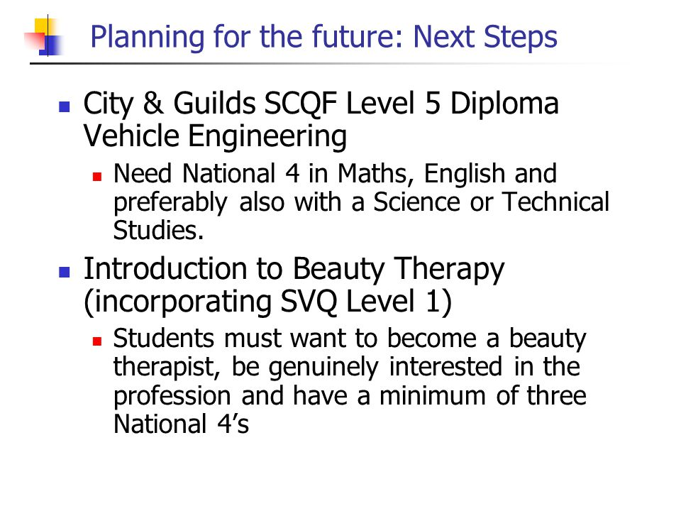 Planning for the future: Next Steps City & Guilds SCQF Level 5 Diploma Vehicle Engineering Need National 4 in Maths, English and preferably also with a Science or Technical Studies.