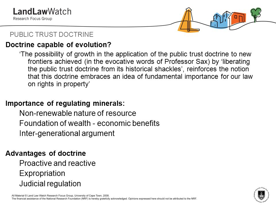 PUBLIC TRUST DOCTRINE Doctrine capable of evolution.