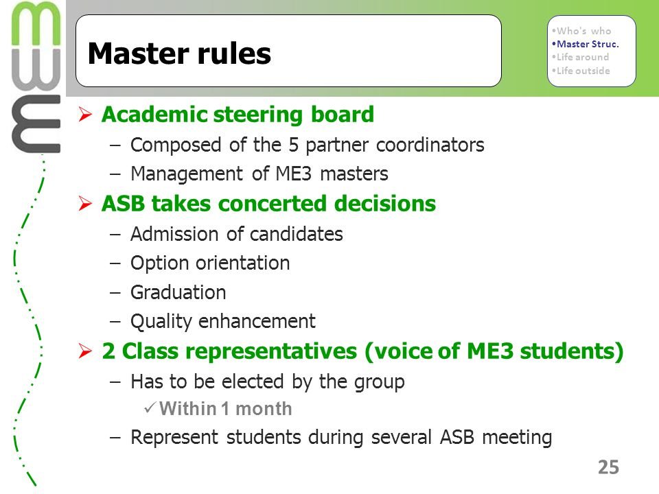 25 Master rules  Academic steering board –Composed of the 5 partner coordinators –Management of ME3 masters  ASB takes concerted decisions –Admission of candidates –Option orientation –Graduation –Quality enhancement  2 Class representatives (voice of ME3 students) –Has to be elected by the group Within 1 month –Represent students during several ASB meeting Who s who Master Struc.