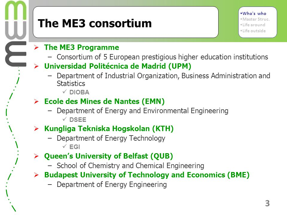 3 The ME3 consortium  The ME3 Programme –Consortium of 5 European prestigious higher education institutions  Universidad Politécnica de Madrid (UPM) –Department of Industrial Organization, Business Administration and Statistics DIOBA  Ecole des Mines de Nantes (EMN) –Department of Energy and Environmental Engineering DSEE  Kungliga Tekniska Hogskolan (KTH) –Department of Energy Technology EGI  Queen's University of Belfast (QUB) –School of Chemistry and Chemical Engineering  Budapest University of Technology and Economics (BME) –Department of Energy Engineering Who s who Master Struc.