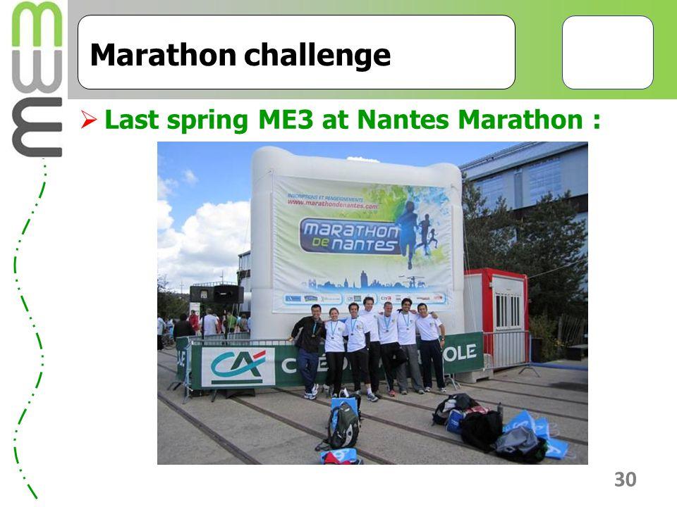 30 Marathon challenge  Last spring ME3 at Nantes Marathon :