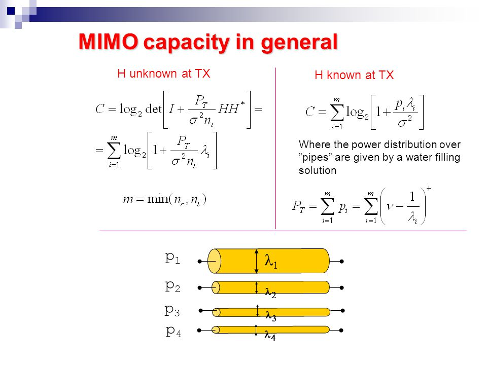 The Channel Eigenvalues Orthogonal channels HH † = I, 1 = 2 = …= m = 1 Capacity increases linearly with min( n r, n t ) An equal amount of power P T /n t is allocated to each pipe Transmitter Receiver