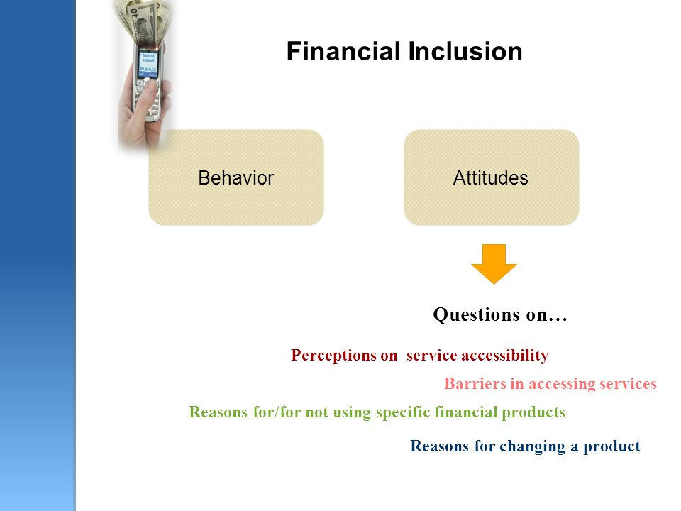 Financial Inclusion Questions on… Reasons for/for not using specific financial products Perceptions on service accessibility Reasons for changing a product Barriers in accessing services BehaviorAttitudes