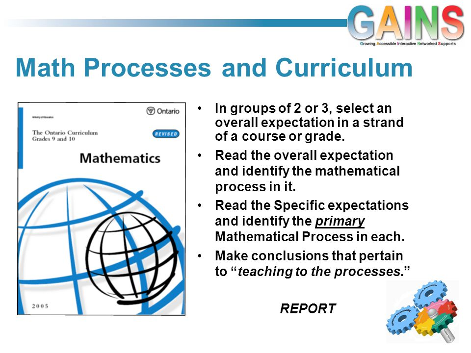 Math Processes and Curriculum In groups of 2 or 3, select an overall expectation in a strand of a course or grade.