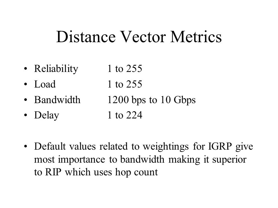 Distance Vector Metrics Reliability 1 to 255 Load1 to 255 Bandwidth1200 bps to 10 Gbps Delay1 to 224 Default values related to weightings for IGRP give most importance to bandwidth making it superior to RIP which uses hop count
