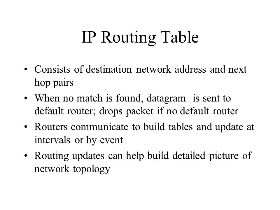 IP Routing Table Consists of destination network address and next hop pairs When no match is found, datagram is sent to default router; drops packet if no default router Routers communicate to build tables and update at intervals or by event Routing updates can help build detailed picture of network topology