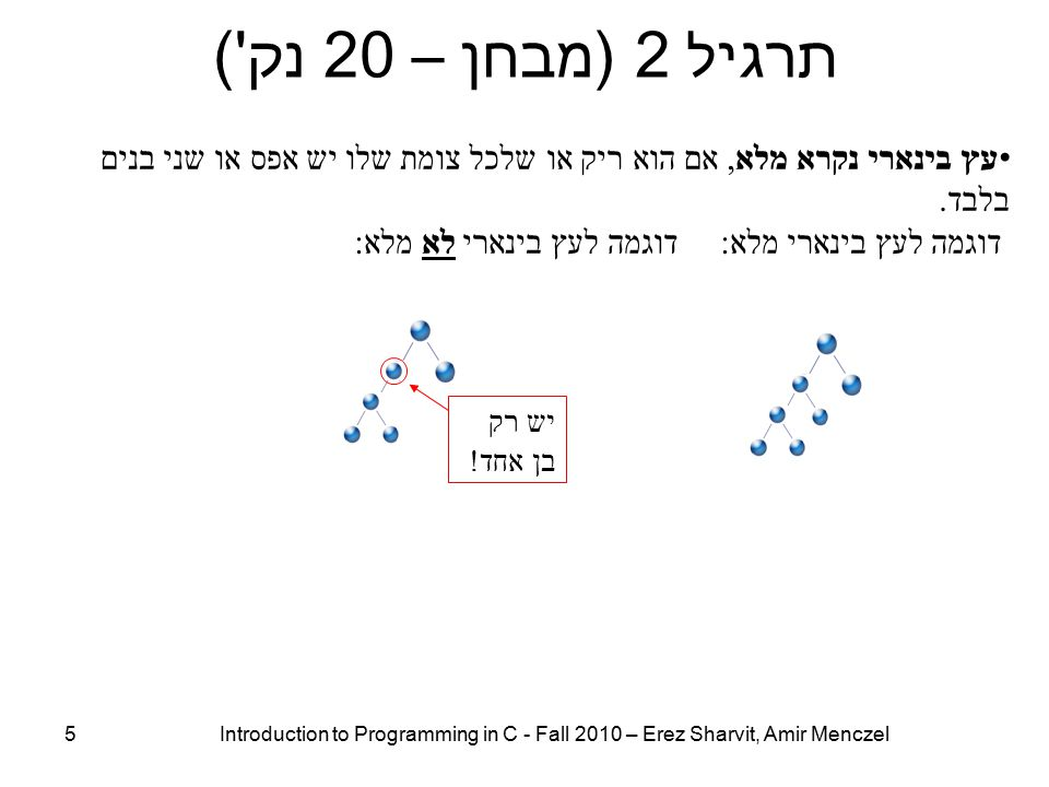 תרגיל 2 (מבחן – 20 נק ) 5 Introduction to Programming in C - Fall 2010 – Erez Sharvit, Amir Menczel יש רק בן אחד .