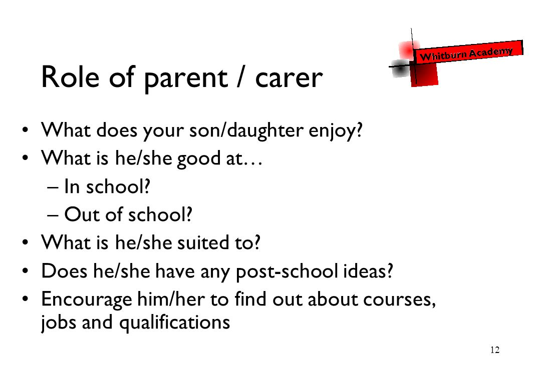 12 Role of parent / carer What does your son/daughter enjoy? What is he/she good at… –In school? –Out of school? What is he/she suited to? Does he/she