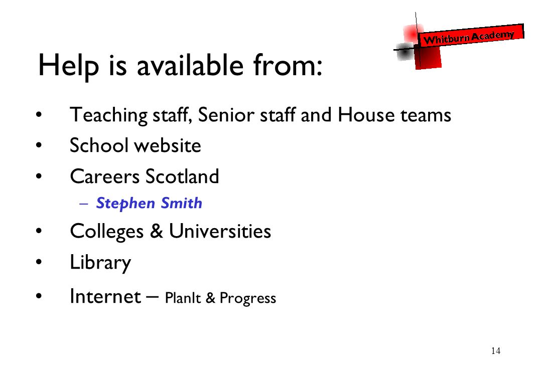 14 Help is available from: Teaching staff, Senior staff and House teams School website Careers Scotland –Stephen Smith Colleges & Universities Library Internet – PlanIt & Progress