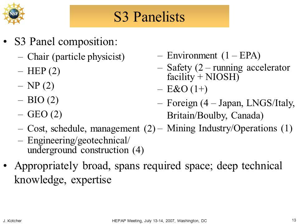 J. Kotcher HEPAP Meeting, July 13-14, 2007, Washington, DC 13 S3 Panelists S3 Panel composition: –Chair (particle physicist) –HEP (2) –NP (2) –BIO (2)