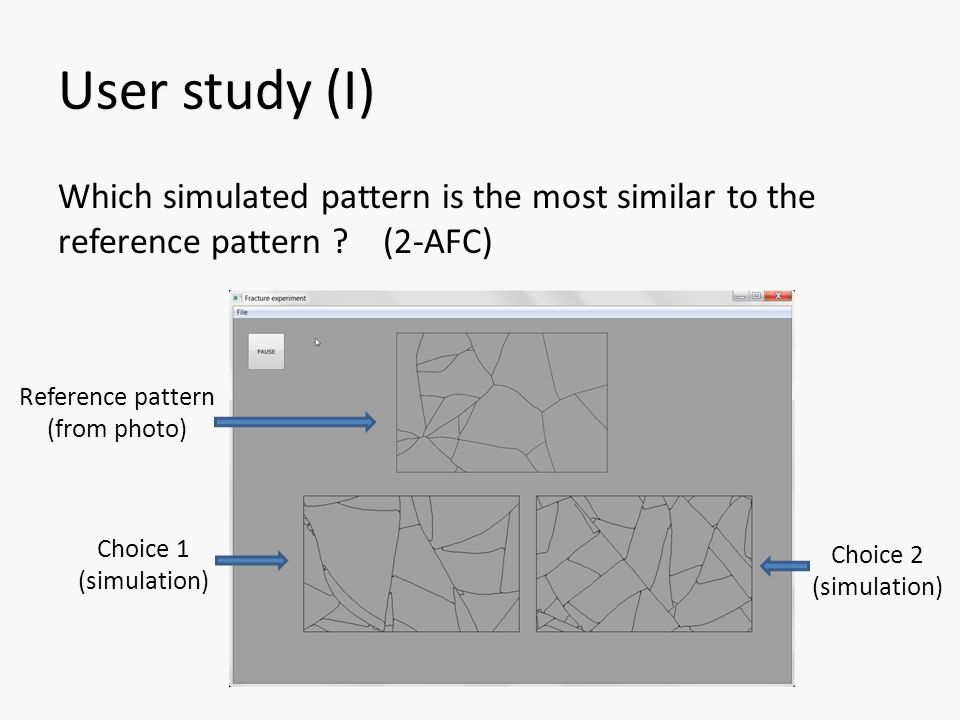 User study (I) Which simulated pattern is the most similar to the reference pattern .