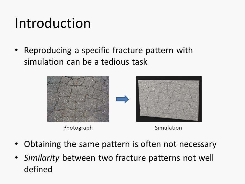 Introduction Reproducing a specific fracture pattern with simulation can be a tedious task Obtaining the same pattern is often not necessary Similarity between two fracture patterns not well defined PhotographSimulation
