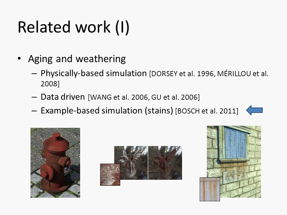 Related work (I) Aging and weathering – Physically-based simulation [DORSEY et al.