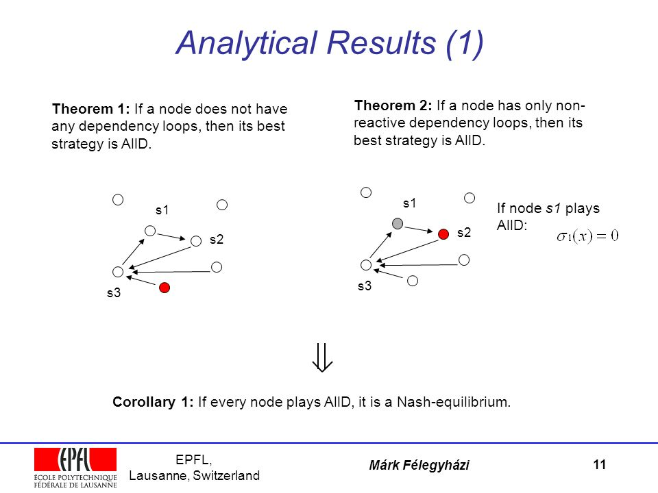 EPFL, Lausanne, Switzerland Márk Félegyházi Analytical Results (1) 11 Theorem 1: If a node does not have any dependency loops, then its best strategy is AllD.
