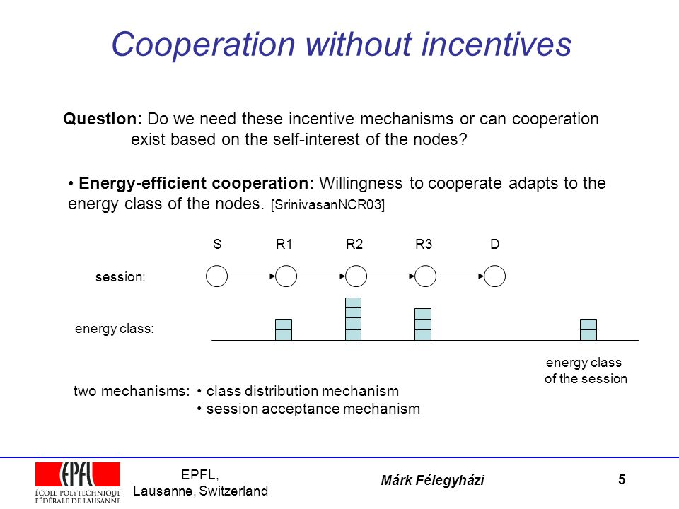 EPFL, Lausanne, Switzerland Márk Félegyházi Cooperation without incentives 5 Question: Do we need these incentive mechanisms or can cooperation exist based on the self-interest of the nodes.