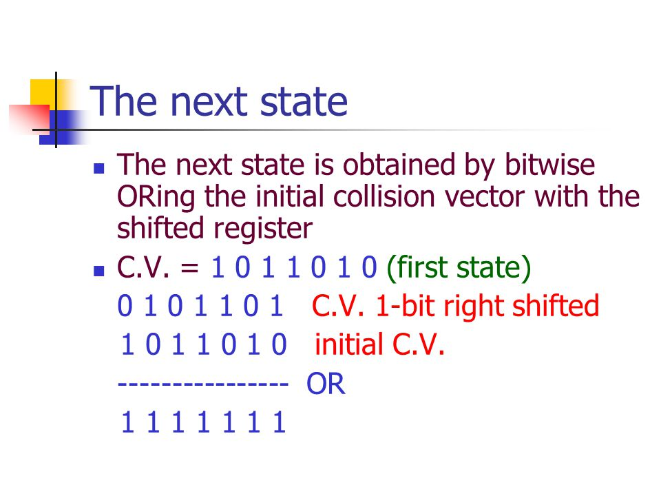The next state The next state is obtained by bitwise ORing the initial collision vector with the shifted register C.V.