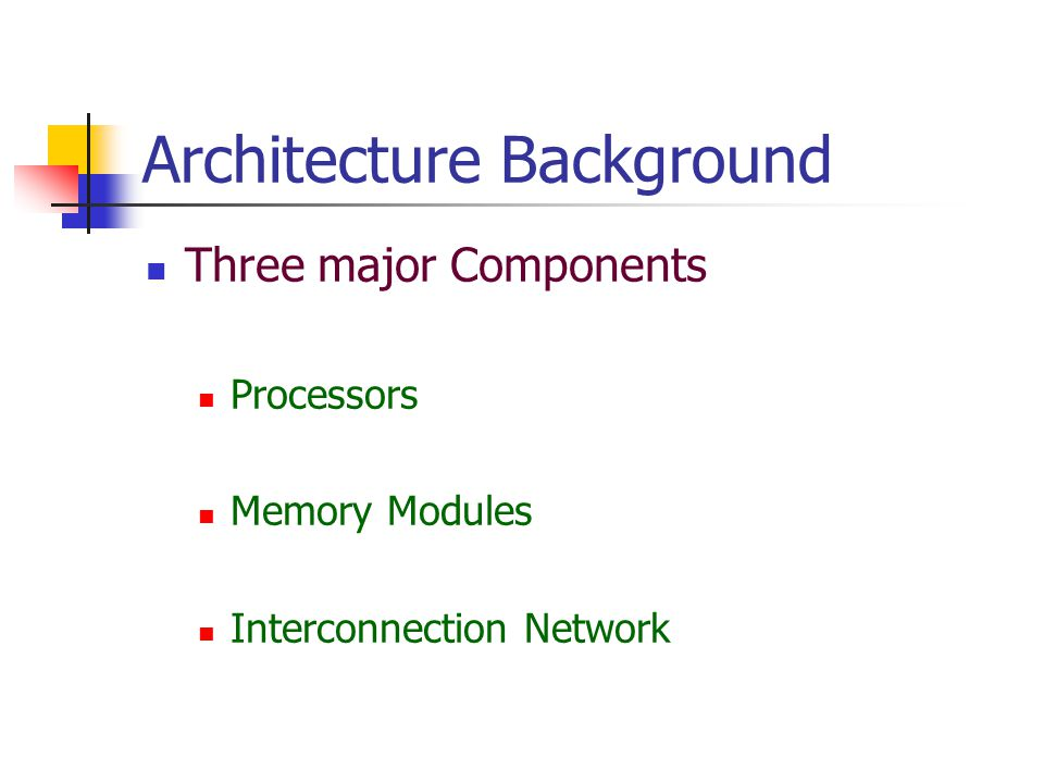 Architecture Background Three major Components Processors Memory Modules Interconnection Network