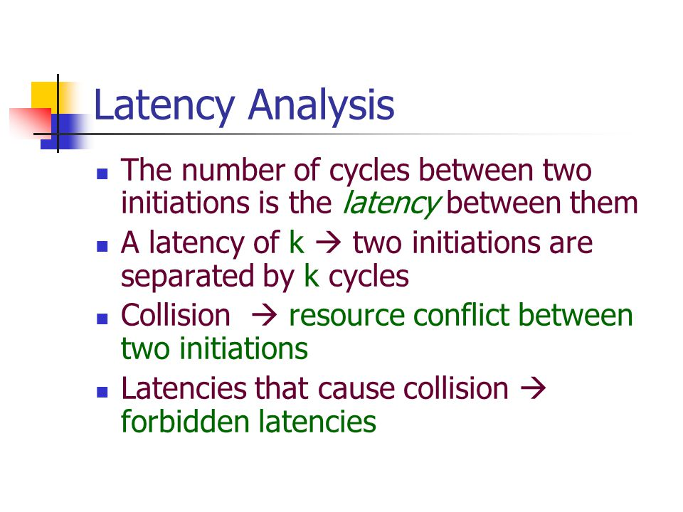 Latency Analysis The number of cycles between two initiations is the latency between them A latency of k  two initiations are separated by k cycles Collision  resource conflict between two initiations Latencies that cause collision  forbidden latencies