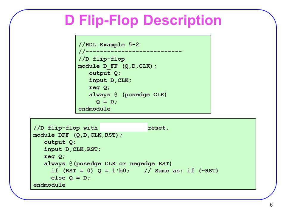 6 D Flip-Flop Description //HDL Example 5-2 //--------------------------- //D flip-flop module D_FF (Q,D,CLK); output Q; input D,CLK; reg Q; always @