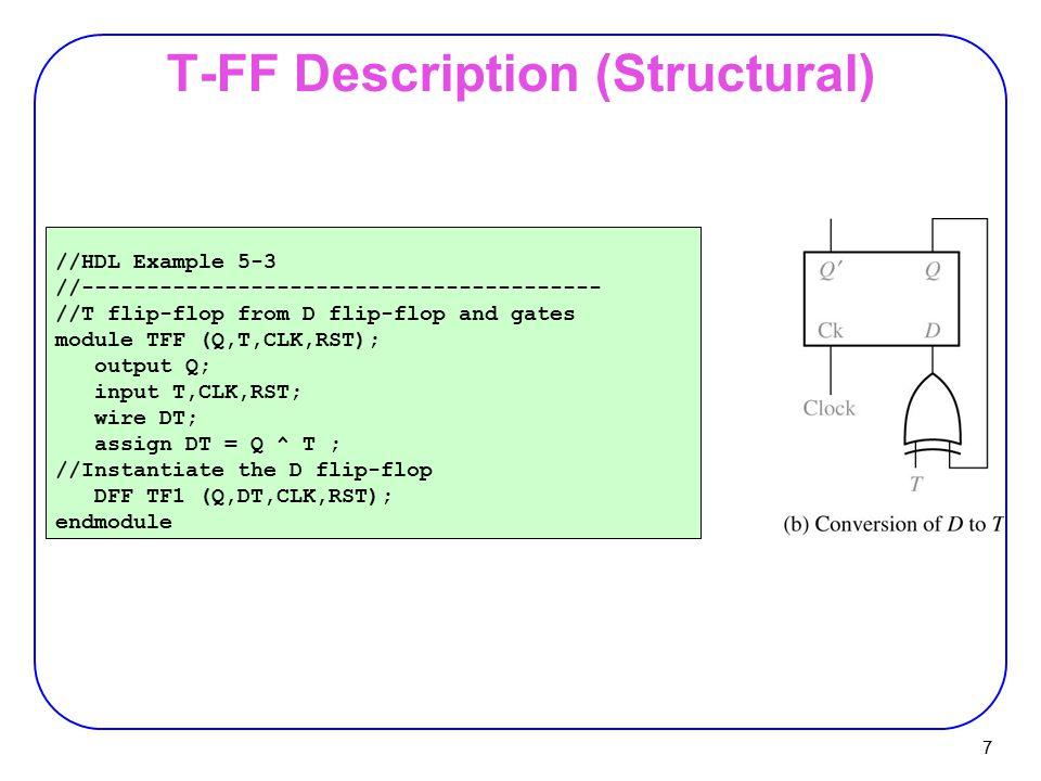 7 T-FF Description (Structural) //HDL Example 5-3 //---------------------------------------- //T flip-flop from D flip-flop and gates module TFF (Q,T,