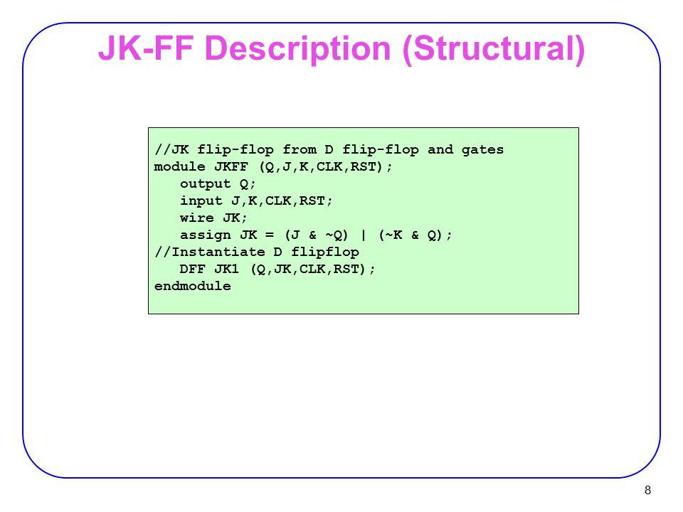 8 JK-FF Description (Structural) //JK flip-flop from D flip-flop and gates module JKFF (Q,J,K,CLK,RST); output Q; input J,K,CLK,RST; wire JK; assign J