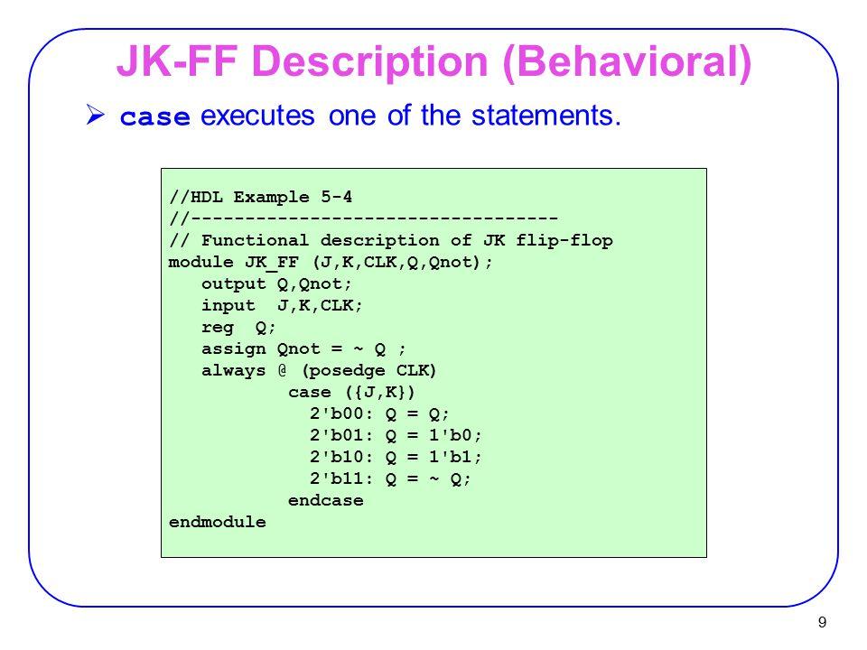 9 JK-FF Description (Behavioral) //HDL Example 5-4 //---------------------------------- // Functional description of JK flip-flop module JK_FF (J,K,CL