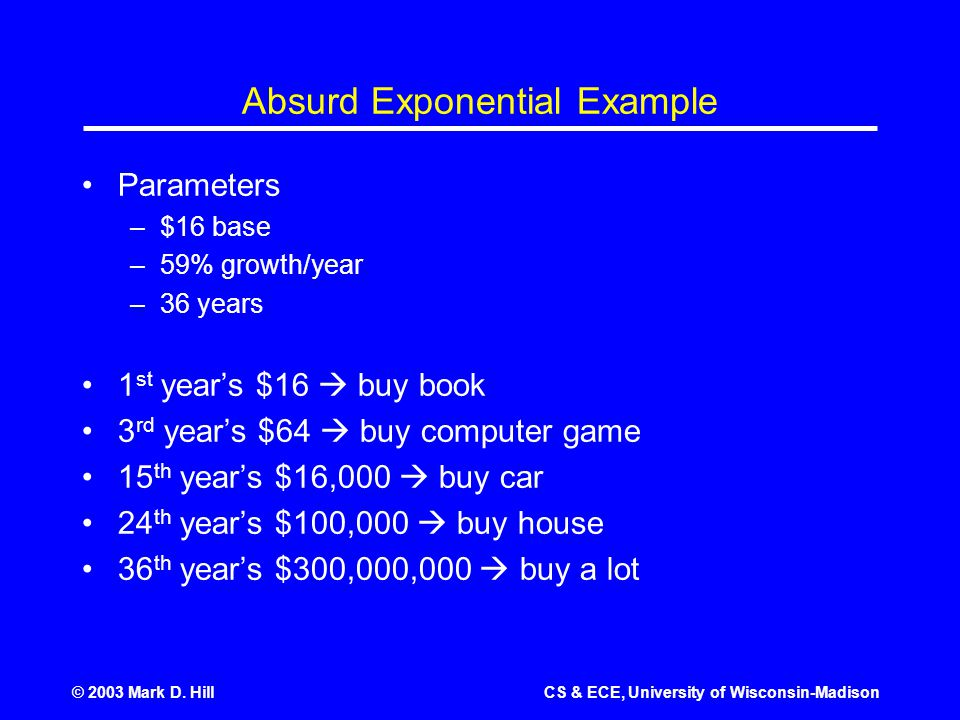 © 2003 Mark D. HillCS & ECE, University of Wisconsin-Madison Absurd Exponential Example Parameters –$16 base –59% growth/year –36 years 1 st year's $1