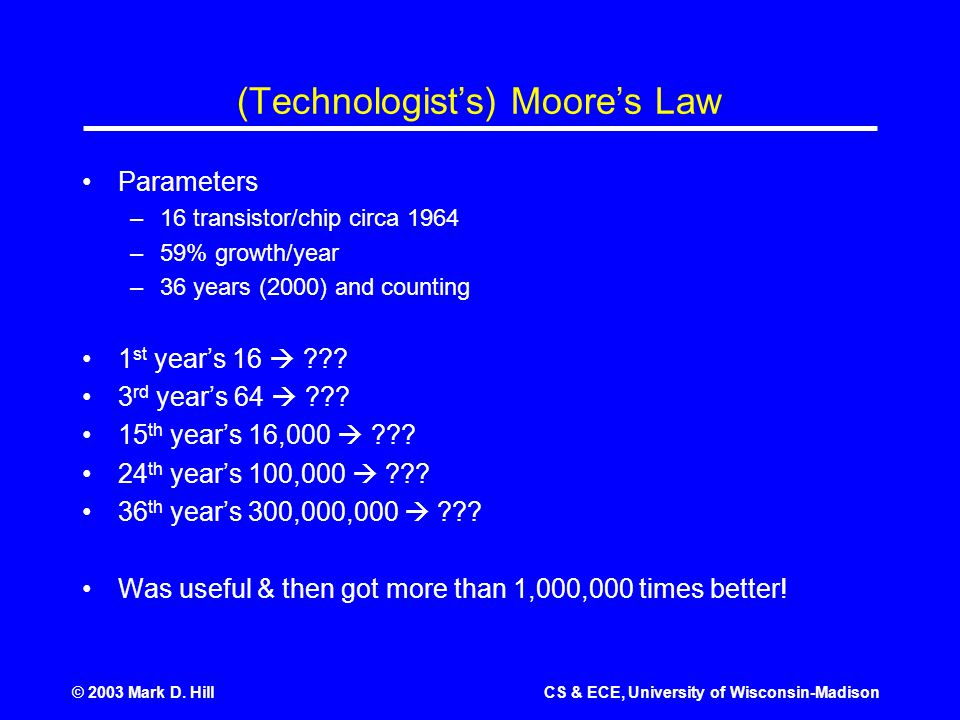 © 2003 Mark D. HillCS & ECE, University of Wisconsin-Madison (Technologist's) Moore's Law Parameters –16 transistor/chip circa 1964 –59% growth/year –