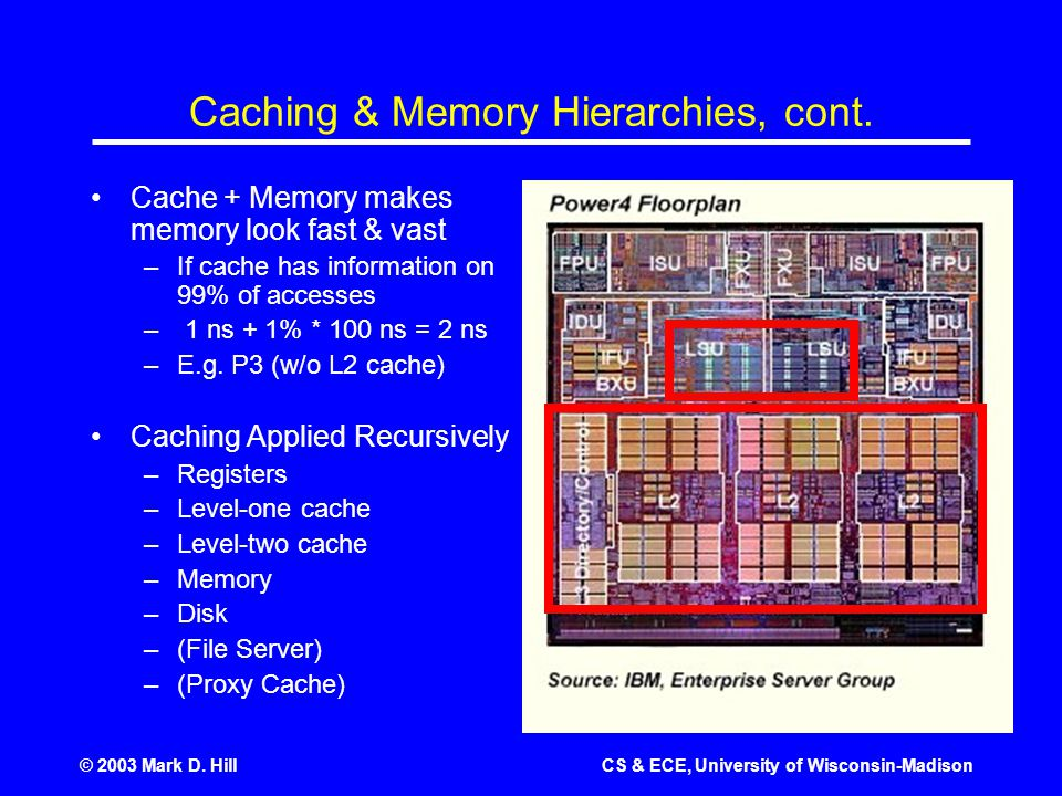 © 2003 Mark D. HillCS & ECE, University of Wisconsin-Madison Caching & Memory Hierarchies, cont.