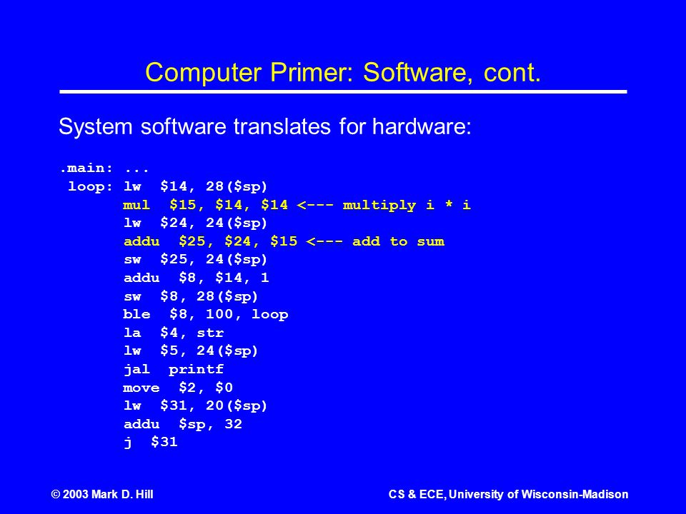 © 2003 Mark D. HillCS & ECE, University of Wisconsin-Madison Computer Primer: Software, cont.